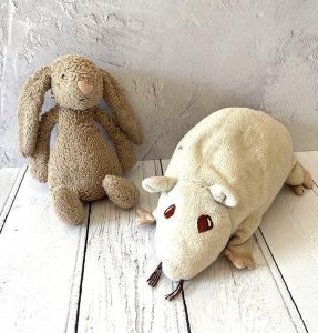 Abbie and Rattie, the soft toys behind the brand